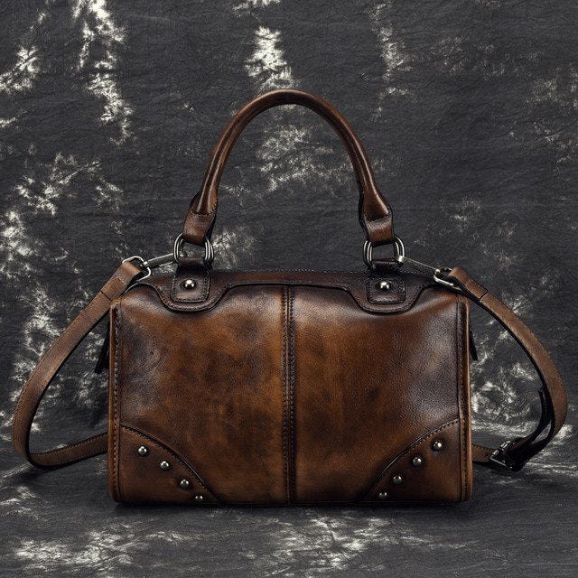 Real Cowhide Messenger Shoulder Travel Bags Brush Color Retro Tote Handbag High Quality Women