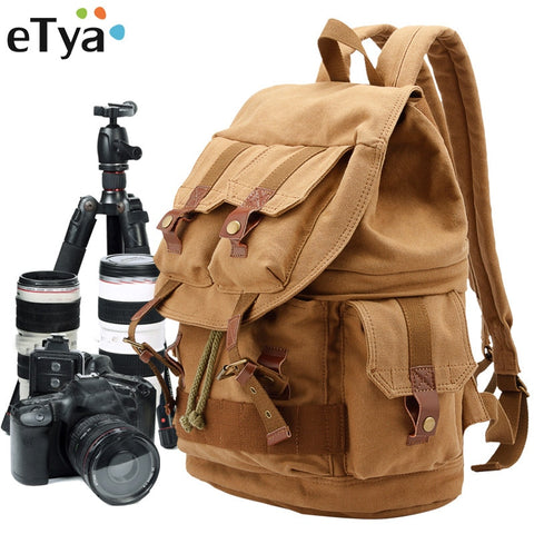 Etya Brand Canvas Men'S Travel Bag Weekend Bag Fashion Large Capacity Camera Bag Backpacks