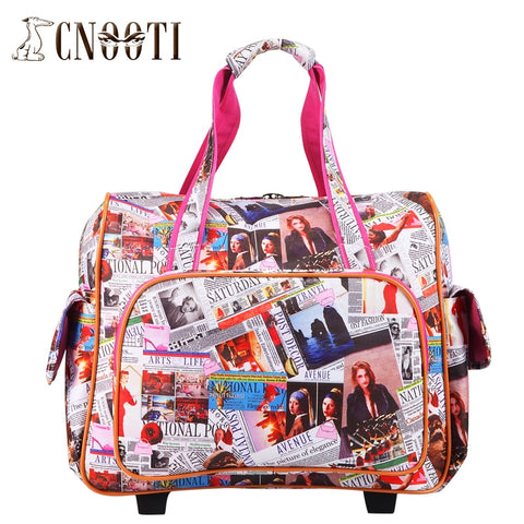 English Letter Trolley Bag Travel Bag Handbag Female Retractable Type,Women Retro Euro Fashion
