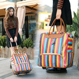 New Hot Fashion Women Trolley Luggages Rolling Suitcase Brand Casual Stripes Rolling Case Travel