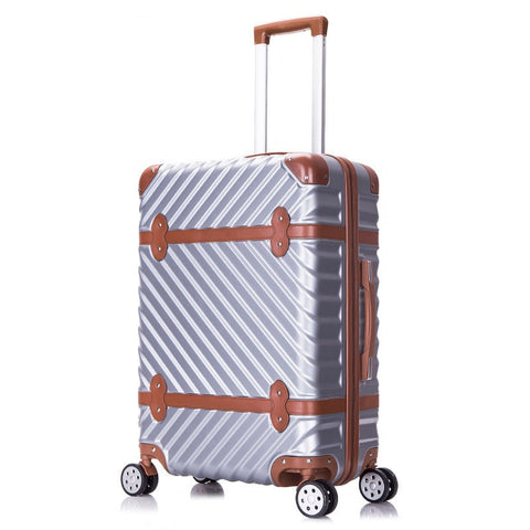 New Fashion!22Inches Retro Abs Pc Wave Strap Hardside Case Trolley Luggage For Men And Women,Lovely