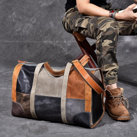 Full Genuine Leather Military Duffel Bag Distressed Leather Travel Bag Weekender Overnight