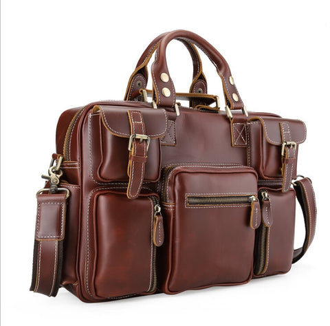 Genuine Leather Bags Fashion Men Handbags Crazy Horse Leather Crossbody Bag Brands  Men'S Travel Bags Briefcase Bag For Man