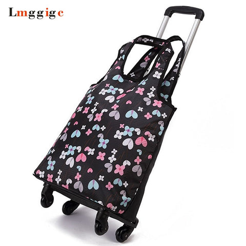Oxford Cloth Travel Suitcase,Cabin Rolling Luggage Bag,Handbag With Wheel ,Grocery Shopping
