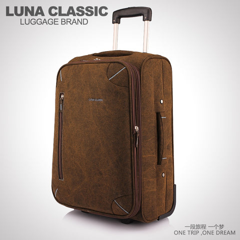 Luna Male Trolley Luggage One-Way Round Interdiffused 20 Travel Bag Canvas Material Luggage Bag20