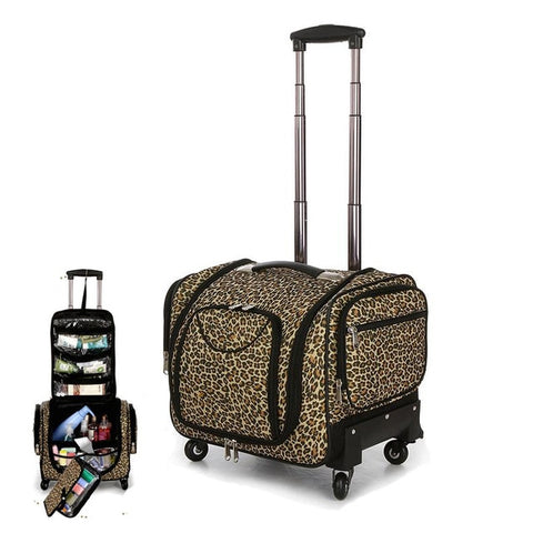 Travel Tale Multifunction Leopard Rolling Luggage Spinner High Capacity Suitcase Wheels Carry On