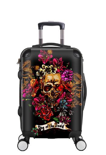 Creative 3D Skull Rolling Luggage Spinner 28 Inch Suitcase Wheels 20 Inch Black Cabin Trolley