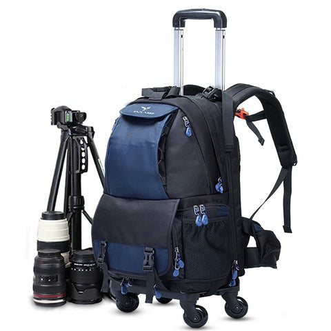 New Back Pull Dual Use Photography Rolling Luggage Digital Shoulder Suitcase Men Camera Cabin