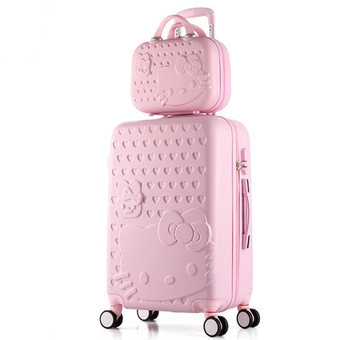 "2Pcs/Set Lovely 14"" Girl Cosmetic Bag Hello Kitty 20/22/24/28 Inch  Students Trolley Case Travel"