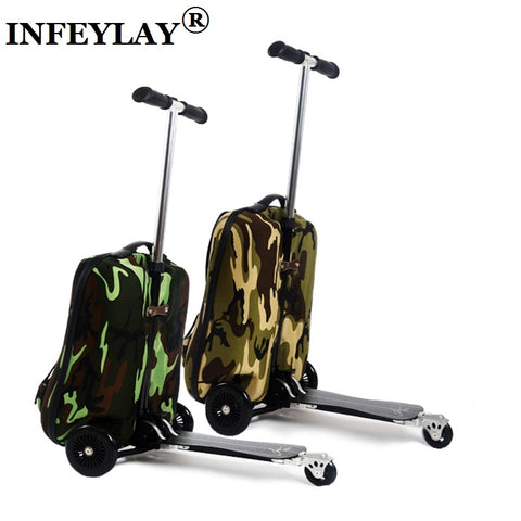 Detachable 20 Inch Camouflage Scooter Suitcase Men Trolley Case Extrusion Students Backpack
