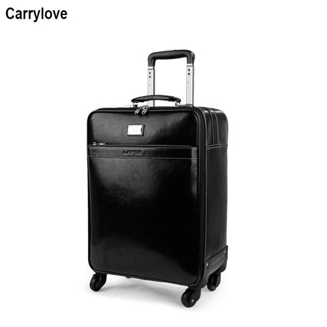 "Carrylove 16"" 20"" 22"" Men Genuine Leather Trolley Case Carry On Hand Luggage Bag On Wheels"