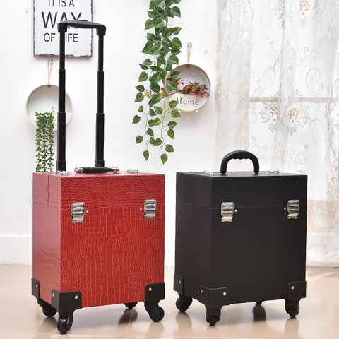 New Cute Trolley Cosmetic Case Rolling Luggage Bag On Wheels,Womens Nails Makeup Toolbox,Beauty