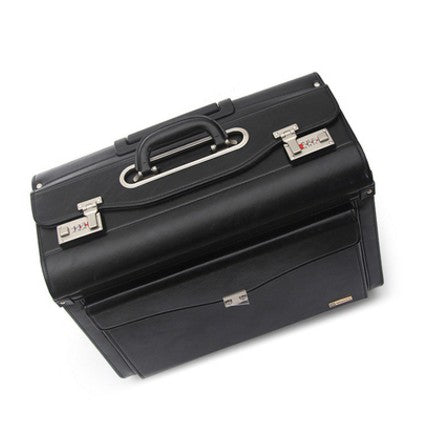 Carrylove  19 Inch Black Carry On Suitcase Pu Leather Cabin Trolley Busy Boarding Crew Luggage