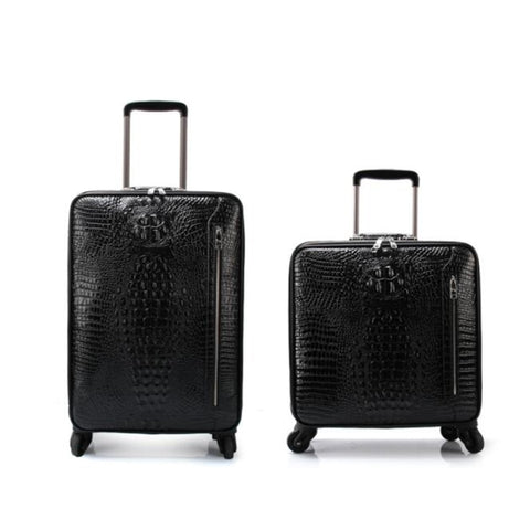 "Carrylove 16"" 20 Cow Leather Crocodile Type Trolley Suitcase Hand Luggage Cabin Travel Box"