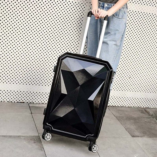 Woman Rolling Travel Suitcase Set 14Inch Cosmetic Bag Diamond Face 20/26/28Inch Carry-On Trolley