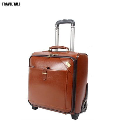 Travel Tale Genuine Cow Leather Men Hand Luggage Retro Travel Suitcase On Wheels
