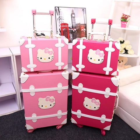 "Trvael Tale 20"" 22"" 24 Inch Pu Leather Retro Cute Suitcase Hello Kitty Trolley Travel Luggage Set"