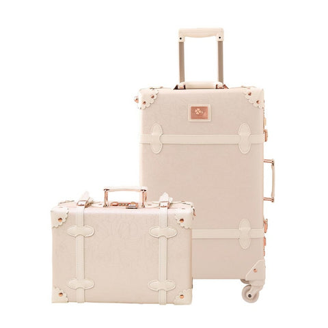 Travel Vintage Luggage Sets Cute Trolley Suitcases Set Lightweight Trunk Retro Style For Women