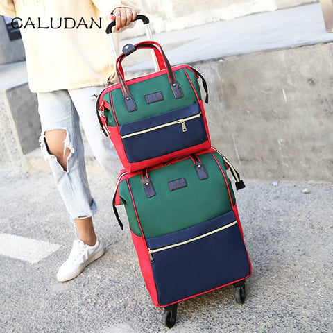 Portable Trolley Bag,Trolley Case And Shoulder Bag Sets,Universal Wheel Oxford Cloth