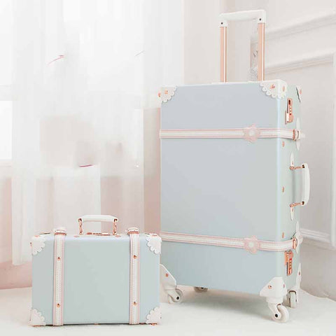 Beasumore Retro Pu Leather Rolling Luggage Set Spinner Suitcase Wheel Vintage Cabin Trolley Women'S