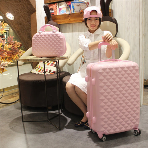 2Pcs/Set 14Inch Cosmetic Bag 20/24 Inches Girl Students Trolley Case Spinner Boarding Luggage Woman