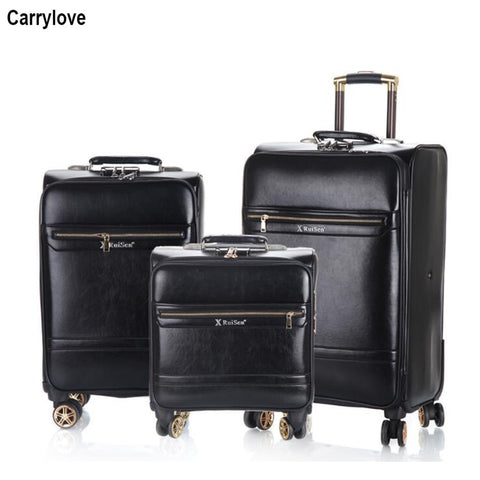 "Carrylove 18""20""24"" Inch Retro Leather Luggage Set Trolley Koffer Sets Travel Suitcase For Trip"
