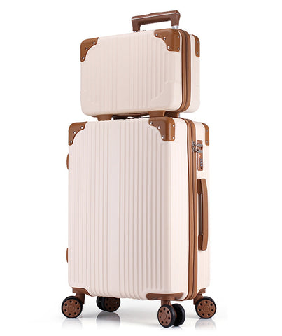 Women Luggage Set Large Spinner Suitcase And Cosmetic Case 2Pcs Sets Coded Suitcase Sets