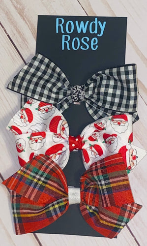 "Christmas Plaid 4"" Bow Set (3 Bows)"