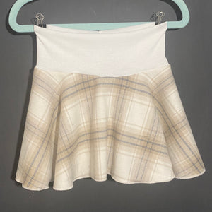 Spin Skirt: Ivory, Tan, Blue Plaid