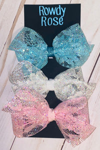 "Glitter Lace 4"" Bow Set (3 Bows)"