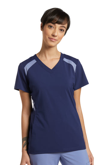 746C FIT V Neck Top with contrast