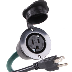 "NEMA 5-15R 15 Amp 125V AC Power Outlet Port Plug w/ 20"" Extension Cord + Waterproof Cover (5279GCR1)"
