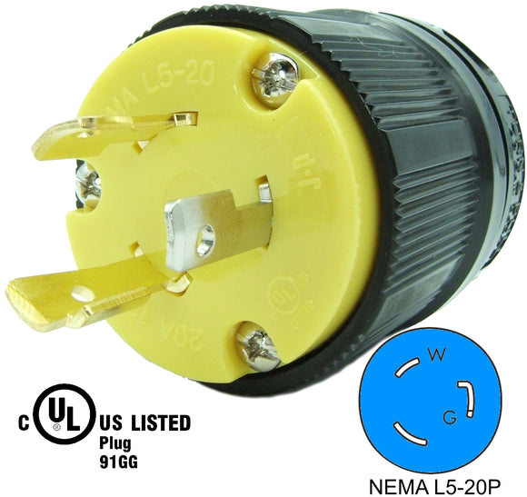 NEMA L5-20P 20A 125V Locking Receptacle Plug, Industrial Grade 3 Prong HJP-2311