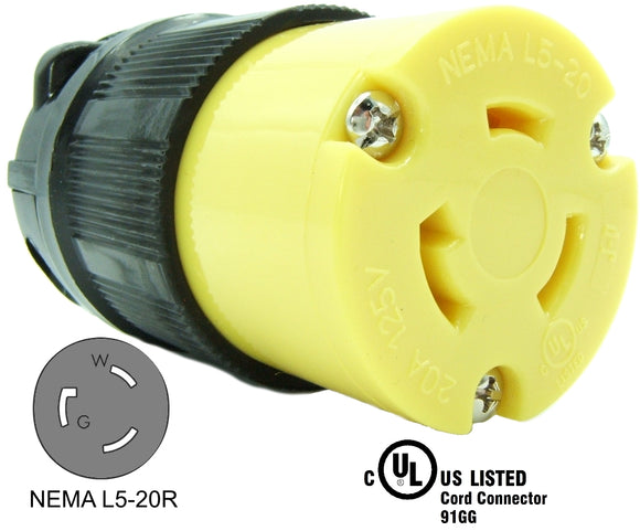 NEMA L5-20R 20A 125V Locking Female Receptacle Plug Industrial Grade 3 Prong HJP-2313