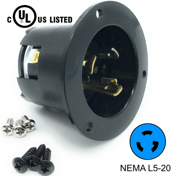 NEMA L5-20 Flanged Inlet Plug, 20A 125V Locking Receptacle Socket, Black HJP-2315