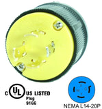 NEMA L14-20P 20A 125/250V Locking Male Receptacle Plug Industrial Grade 4 Prong HJP-2411