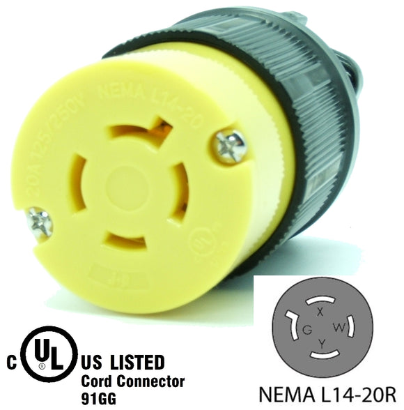 NEMA L14-20R 20A 125/250V Locking Female Receptacle Plug Industrial Grade 4Prong HJP-2413
