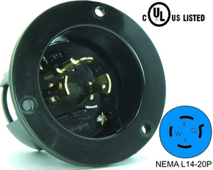 NEMA L14-20 Flanged Inlet Plug, 20A 250V Locking Receptacle Socket, Black HJP-2415