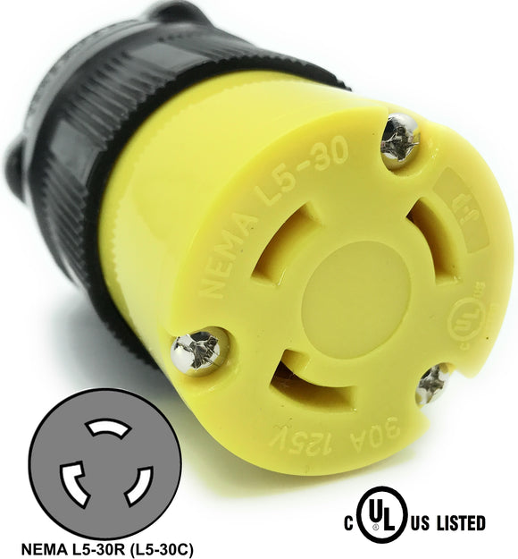 NEMA L5-30R 30A 125V Locking Female Receptacle Plug Industrial Grade 3 Prong HJP-2613