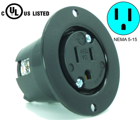 NEMA 5-15 Flanged Outlet Receptacle, 15A 125v, Black HJP-5279