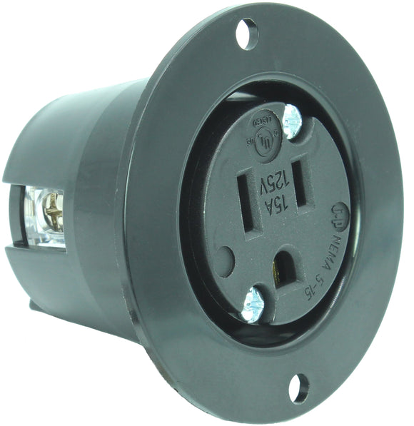 15 AMP - 125 VOLT FLANGED POWER OUTLET RECEPTACLE PLUG (NEMA 5-15R) 5-15FO Black/White