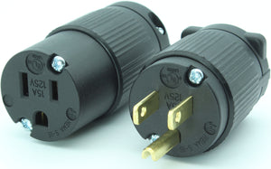 NEMA 5-15P 15A 125V Replacement Cord Plug Set Industrial Grade, 5-15PV 5-15CV