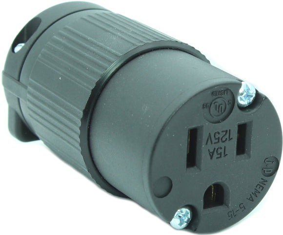 15 AMP - 125 VOLT STRAIGHT BLADE FEMALE CONNECTOR PLUG (NEMA 5-15R, 5-15C)