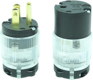 NEMA 5-15P Lighted 15A 125V Replacement Cord Plug Set Industrial Grade, 5-15PV 5-15CV LIT