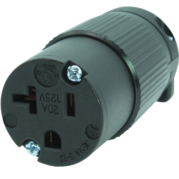 20 AMP - 125 VOLT STRAIGHT BLADE FEMALE CONNECTOR PLUG (NEMA 5-20R, 5-20C)