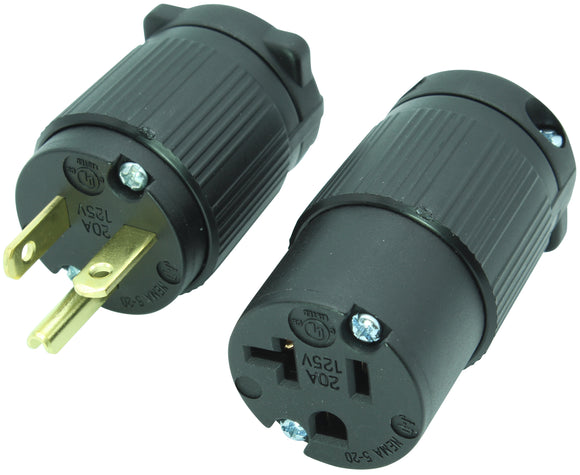 NEMA 5-20P 20A 125V Replacement Cord Plug & Connector Set, 5-20PV 5-20CV