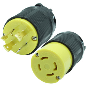 NEMA L14-30 Plug and Connector Set Industrial Grade Black/Yellow L14-30P L14-30R HJP-2711 HJP-2713