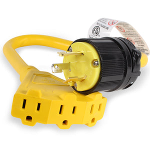 L5-30P to Triple 5-15R Generator Power Cord Adapter | 30A to 15A/110V 3-Way Splitter | Twist Lock | 3-Prong Distribution Cords