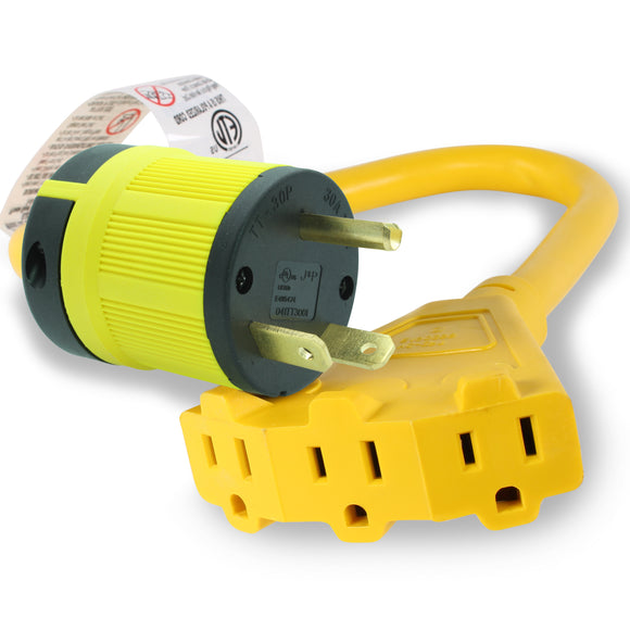 NEMA TT-30P to Triple 5-15R Generator Power Cord Adapter | 30A to 15A/110V 3-Way Splitter | 3-Prong Distribution Cords