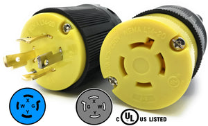 NEMA L14-20 Plug and Connector Set Industrial Grade Black/Yellow L14-20P L14-20R